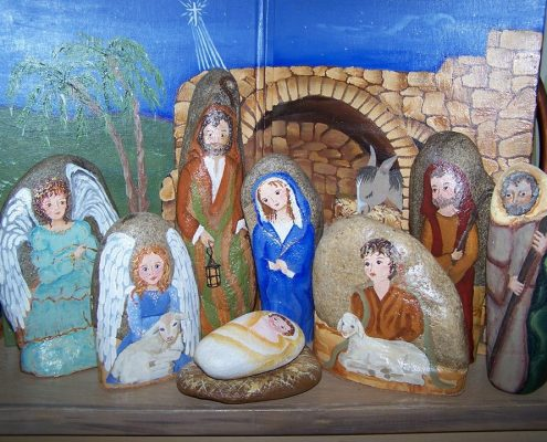 Rock Painting Nativity Set